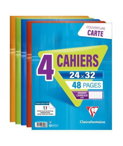 CLAIREFONTAINE - Lot de 4 cahiers piqûres - 24 x 32 - 48 pages Seyes - Couverture pelliculée - 4 couleurs assorties