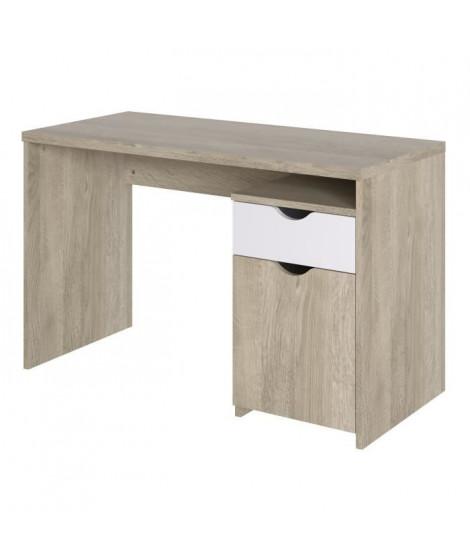 Bureau 1 porte 1 tiroir - Décor chene et blanc - L 120 x P 55 x H 75 cm - AUSTIN