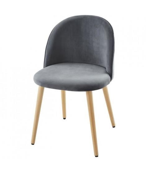 MACARON chaise de salle a manger - Velours gris - Scandinave - L 50 x P 50 cm