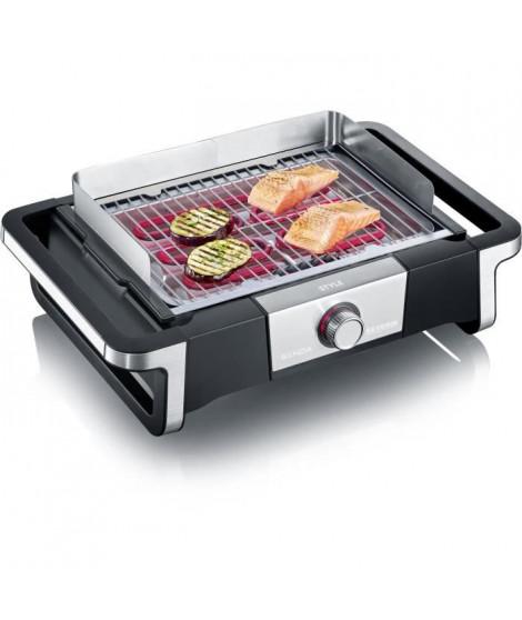 SEVERIN PG8112 Barbecue de table STYLE - 2 500 W - de 0°C a 320°C en 10 min - bac a eau réducteur de fumée et d'odeurs - noir…