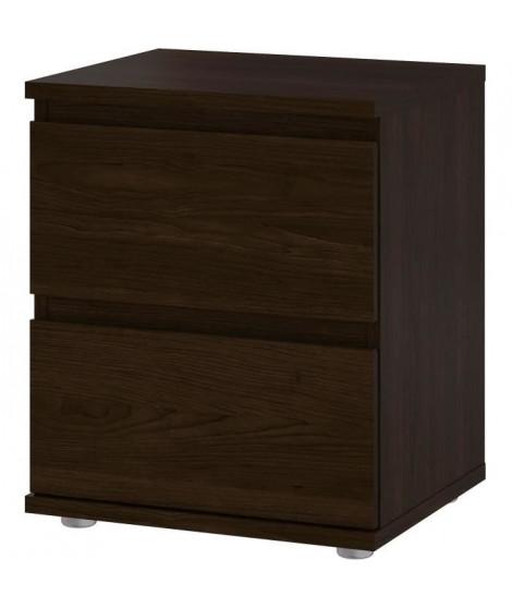 Chevet 2 tiroirs - Décor Coffee - L 40,2 x P 34 x H 48,2 cm - OMAHA