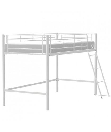 Lit surélevé enfant en métal - Blanc - Sommier inclus - 90 x 190 cm - MID
