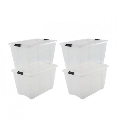 IRIS OHYAMA Lot de 4 boîtes de rangement empilables - Transparent - 45 L - 58 x 39,5 x 34 cm