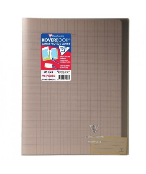 CLAIREFONTAINE - Cahier piqûre KOVERBOOK - 24 x 32 - 96 pages Seyes - Couverture Polypro translucide - Marron