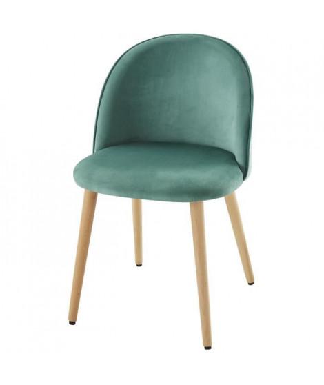 MACARON chaise de salle a manger - Velours vert - Scandinave - L 50 x P 50 cm