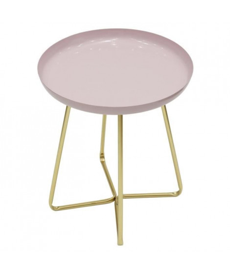 Table d'appoint plateau rond glossy - Rose - L 40 x P 40 x H 48,5 cm