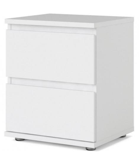 Chevet 2 tiroirs - Décor Blanc - L 40,2 x P 34 x H 48,2 cm - OMAHA