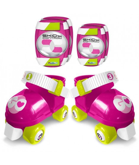 Set Patins a Roulettes + Coudieres & Genouilleres ROSE SKIDS CONTROL