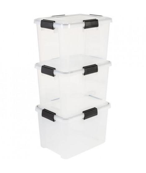 IRIS OHYAMA Lot de 3 boîtes de rangement hermétiques - Air Tight Box - AT-SD - Plastique - Transparent - 28 L - 39 x 29 x 26 cm