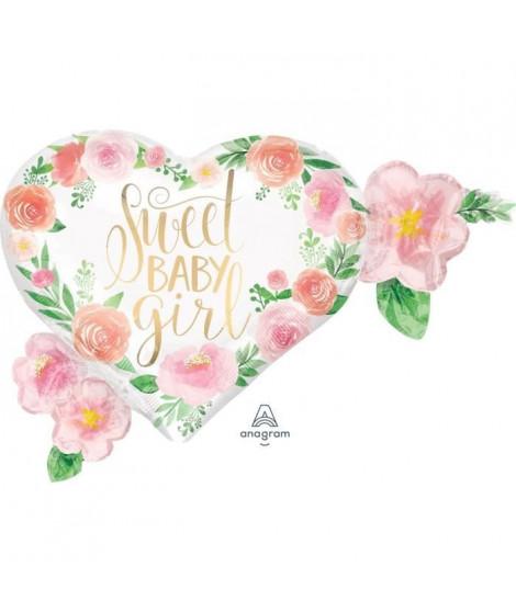 AMSCAN Ballon Foil Superhsape Floral Fille P30 avec pack 68 x 50 cm