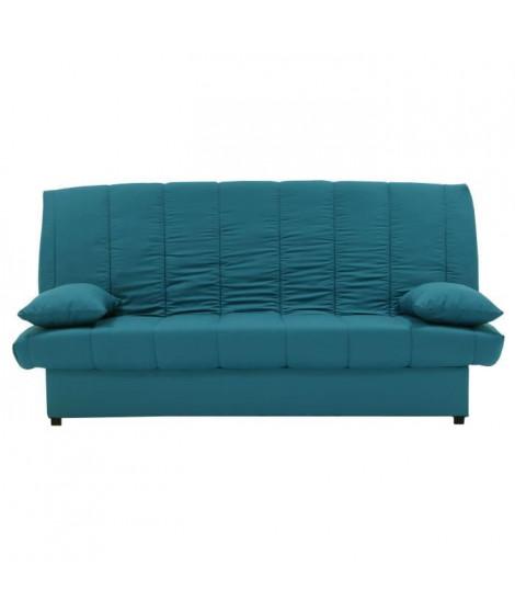 MILA Banquette clic clac 3 places - Tissu bleu canard - Slyle contemporain - L 190 x P92 cm