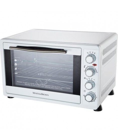 WHITE & BROWN MF 63-Mini four-55 L-2200 W-Voûte, sole ou convection-Rotissoire et chaleur tournante-Blanc