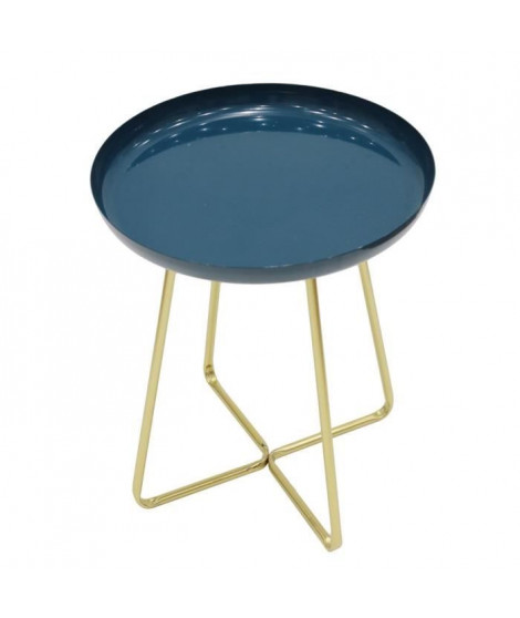 Table d'appoint plateau rond glossy - Bleu - L 40 x P 40 x H 48,5 cm