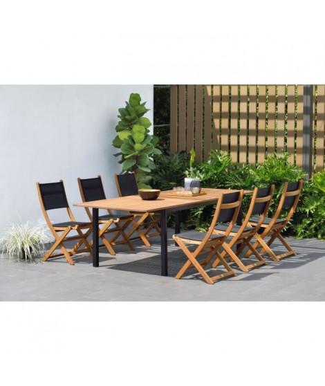 Ensemble repas de jardin extensible 6 a 8 personnes - table 180/240x100cm + 6 chaises pliantes en eucalyptus FSC et textilene…