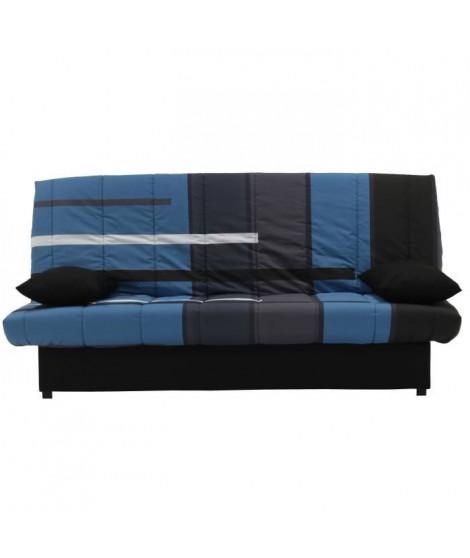 MILA Banquette clic clac 3 places - Motif Urban bleu - Slyle contemporain - L 190 x P92 cm