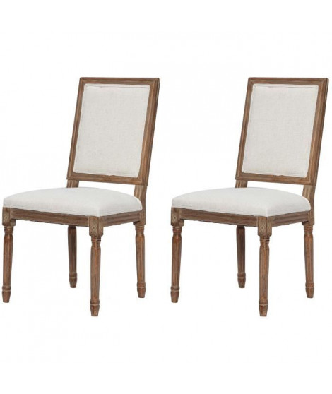 REGENCY Lot de 2 chaises de salle a manger en bois massif - Tissu Lin coloris naturel - Classique - L 47 x P 40 cm