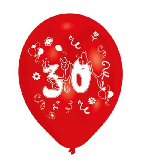 Lot de 8 Ballons - Latex - Nombre 30 - Imprimé 2 faces
