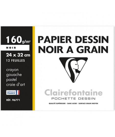 CLAIREFONTAINE - Pochette dessin - 12 feuilles - 24 x 32 cm - 160 g - Noir