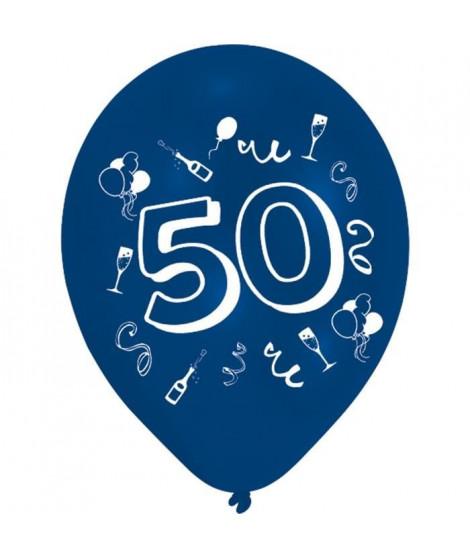 Lot de 8 Ballons - Latex - Nombre 50 - Imprimé 2 faces