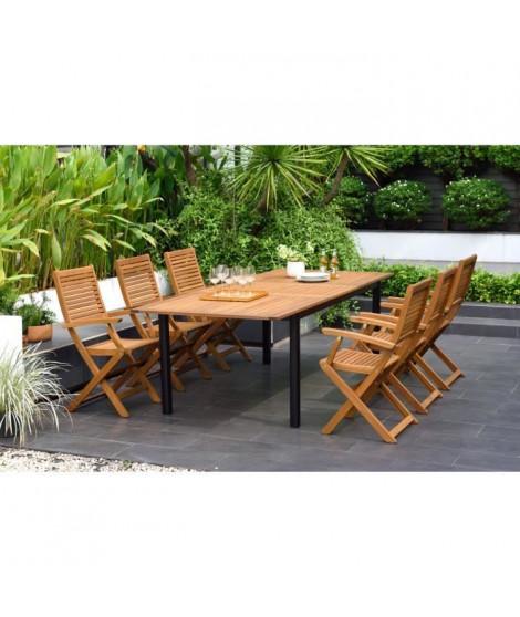 Ensemble repas de jardin extensible 6 a 8 personnes - table 180/240x100cm + 6 chaises pliantes en eucalyptus FSC - Noir