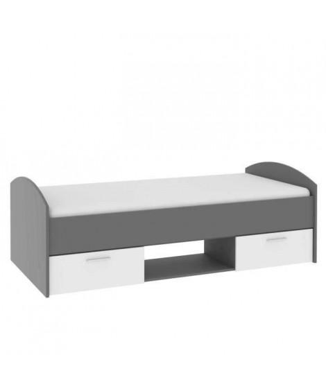 LUPO Lit enfant contemporain gris et blanc mat - l 90 x L 200 cm