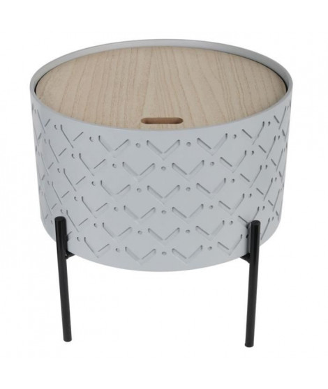 Table d'appoint coffre bois - Gris - L 35 x P 35 x H 35 cm