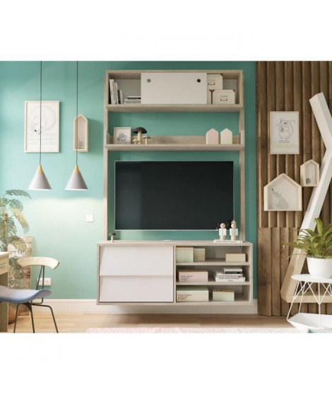 FINLANDEK Meuble TV HANNAH scandinave couleurs chene et blanc - L 110 cm