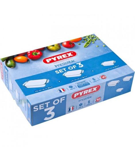 PYREX - Lot de 3 plats a four rectangulaires Irresistible 31x20 cm + 35x23 cm + 39x25 cm