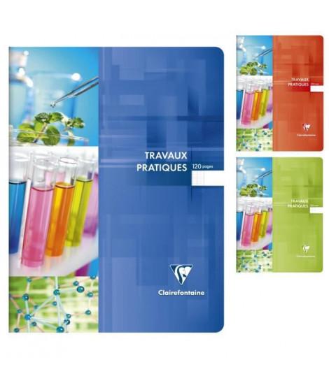 CLAIREFONTAINE - Cahier Travaux Pratiques piqûre - 24 x 32 - 120 pages Seyes + uni - Couverture pelliculée - 3 couleurs aléat…