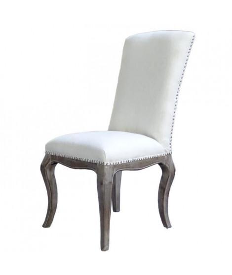 CHANTILLY Lot de 2 chaises de salle a manger en bois massif - Tissu Lin coloris naturel - Classique - L 49 x P 41 cm