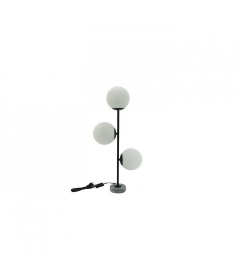 GLOBES Lampe 3 tetes - Base en marbre - Métal et verre - 33 x 11 x H.70 cm - Noir - E14 (x3) 25W