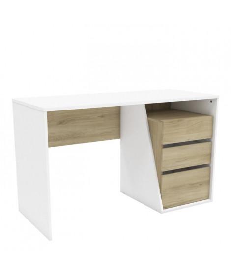 JEFFERSON Bureau 3 tiroirs - Décor Chene Kronberg blanc - L 127,1 x H 76,8 x P 55 cm