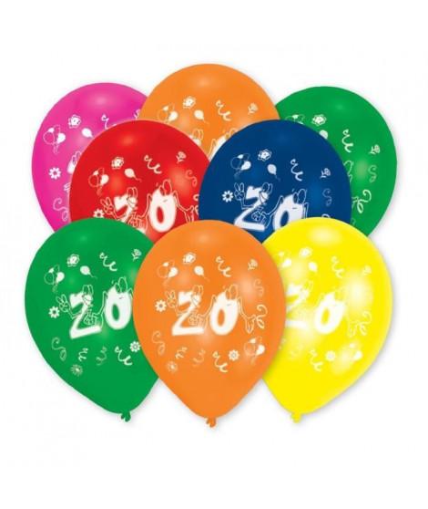 AMSCAN Lot de 8 Ballons en latex imprimé Nombre 20 - 25,4 cm/10''