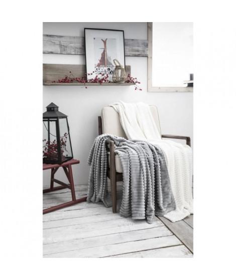 TODAY Plaid 100% Polyester FLOCON MOUNTAIN 125x150cm - Blanc