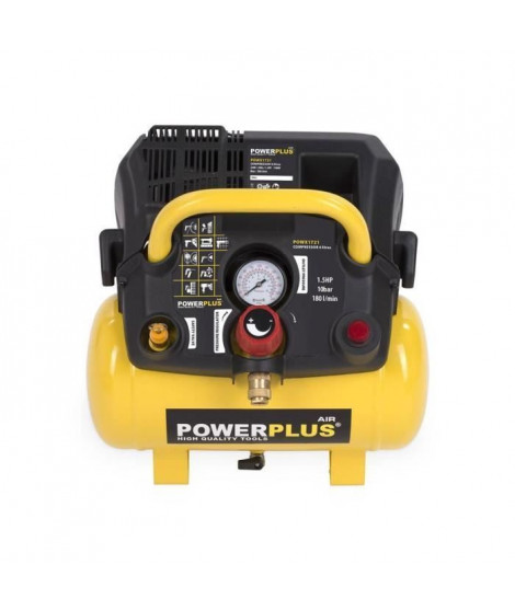 POWERPLUS Compresseur - 6 L - 8 bar - 1,5HP - 1100 W
