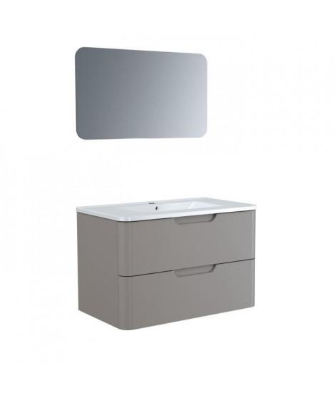 Meuble salle de bain L 80 - 2 tiroirs + vasque - Taupe - RONDO