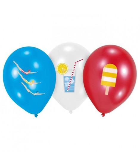 AMSCAN Lot de 6 Ballons Summer Stories en latex 27,5 cm 11 - Impression 4 couleurs