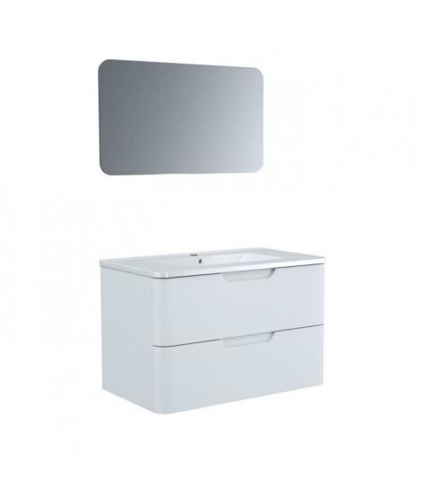 Meuble salle de bain L 80 - 2 tiroirs + vasque - Blanc - RONDO