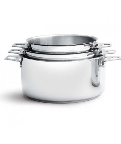 DE BUYER - 3491.03 - Lot 3 casseroles - FAITOUTS TWISTY - Ø 16cm + 18cm + 20cm - Acier Inox