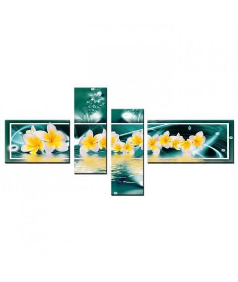 FINLANDEK Tableau multi panneau Abstrait Nivala 140x70 cm jaune