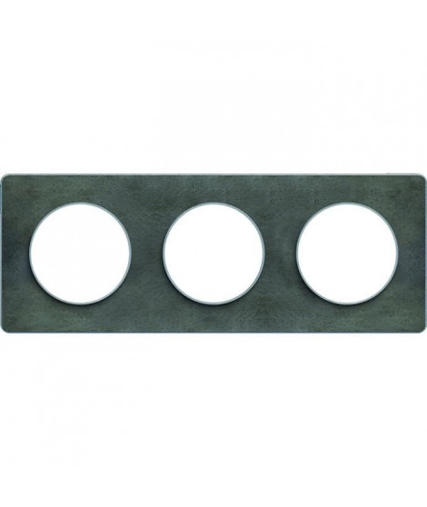 SCHNEIDER ELECTRIC Plaque 3 postes Odace Touch ardoise liseré aluminium