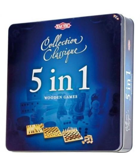 TACTIC 5 jeux en 1 en Bois Boîte métal