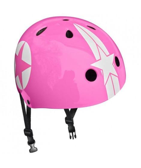 STAMP Casque Skate Pink Star avec Molette d'Ajustement - Taille 54-60 cm