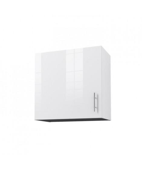 OBI Caisson haut de cuisine avec 1 porte L 60 cm - Blanc et blanc laqué brillant