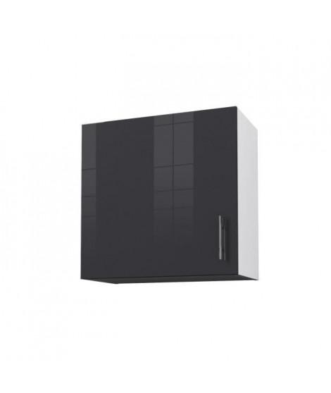 OBI Caisson haut de cuisine avec 1 porte L 60 cm - Blanc et gris laqué brillant
