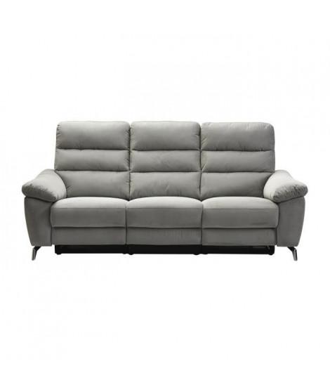 CLAROS Canapé 3 places avec 2 assises électriques - Tissu gris - L 222 x P 96 x H 101 cm