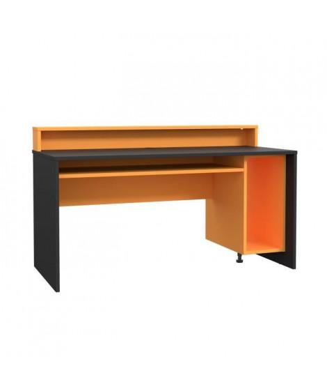 TEZAUR Bureau multi media + LED - Décor noir et orange - L 160 x P 72 x H 91 cm