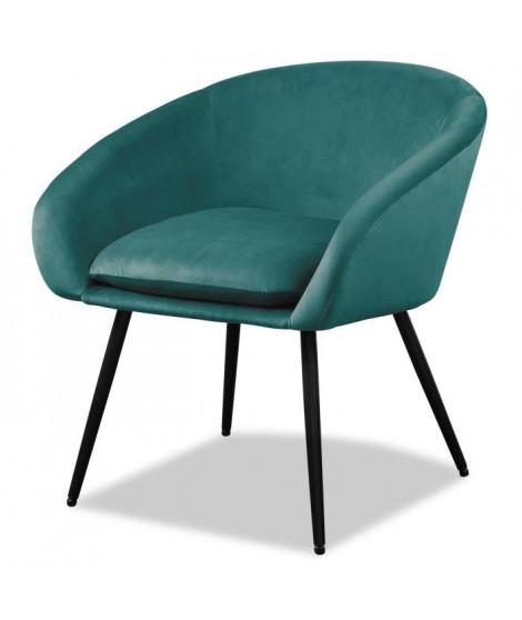 MILEY Fauteuil pieds métal - Tissu bleu - L 67 x P 62 x H 76 cm