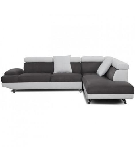 SCOOP Canapé d'angle droit 4 places - Tissu gris et simili blanc - Contemporain - L 259 x P 182 cm