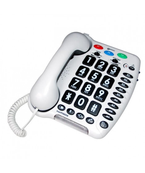 GEEMARC Téléphone fixe grosses touches sénior AMPLIPOWER 50 - Blanc